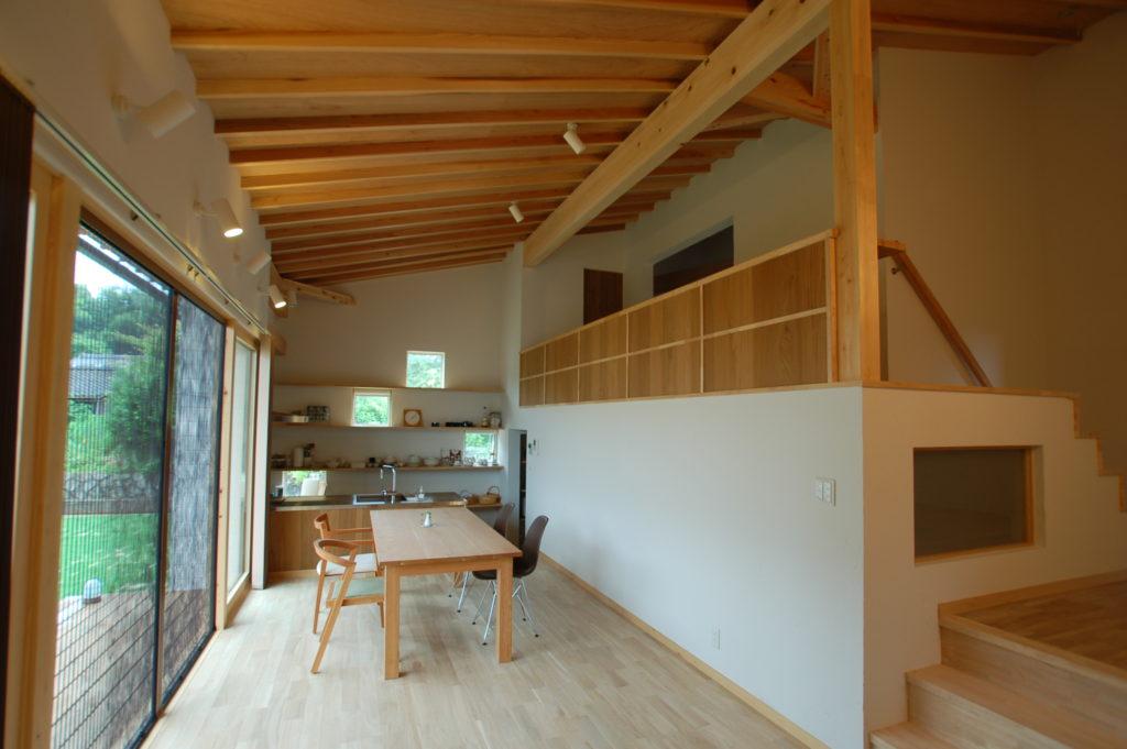 白い板張りソリッドな形状に木製格子が特徴的な人々が集うカフェスタイルの家